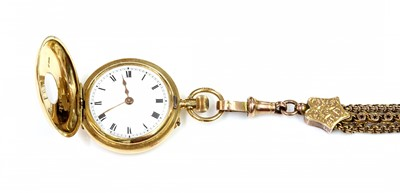 Lot 118 - A ladies' 18ct gold side wind enamel half hunter fob watch and Albertine, c.1910
