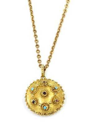 Lot 22 - A Regency gold circular gem set pendant, c.1820