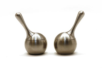 Lot 99 - A pair of Georg Jensen stainless steel salt and pepper grinders