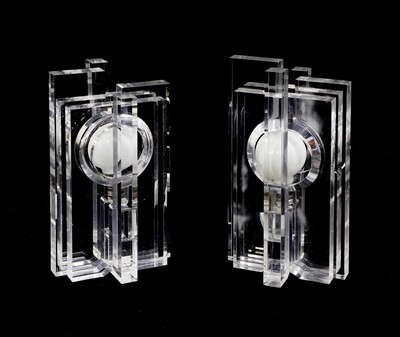 Lot A pair of lucite puzzle table lamps