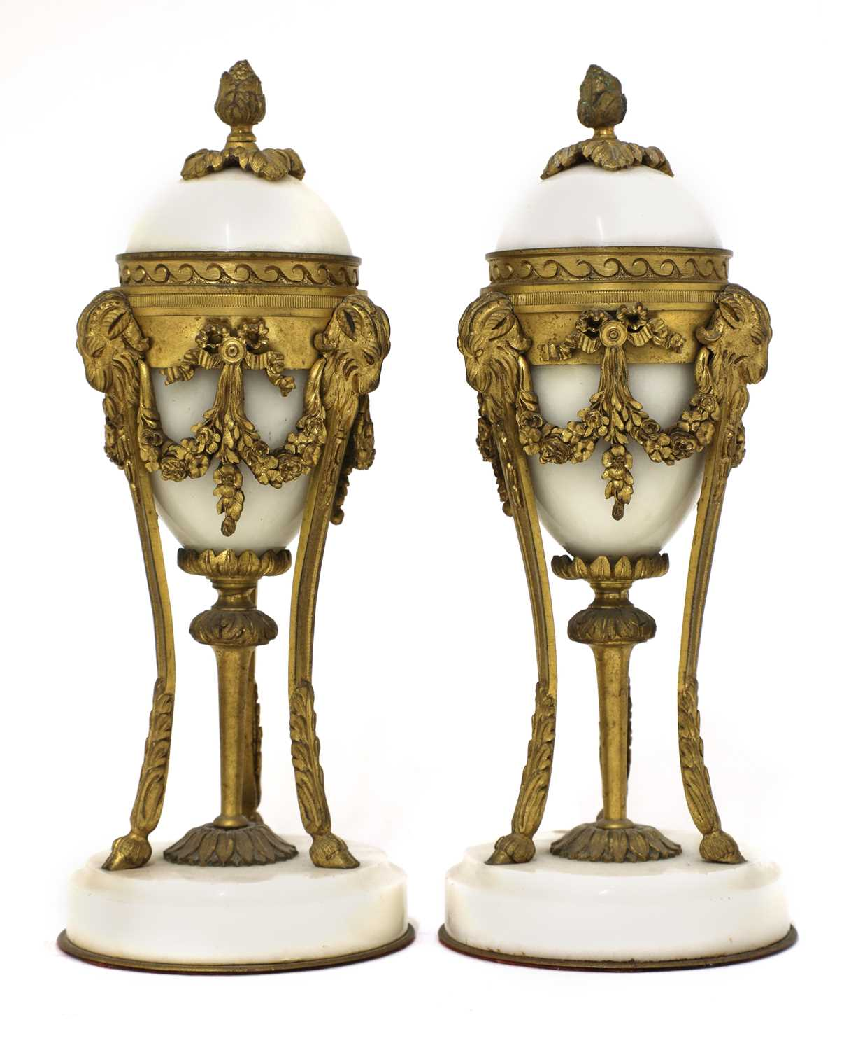 Lot 53 - A pair of French Empire-style white marble and ormolu cassolettes