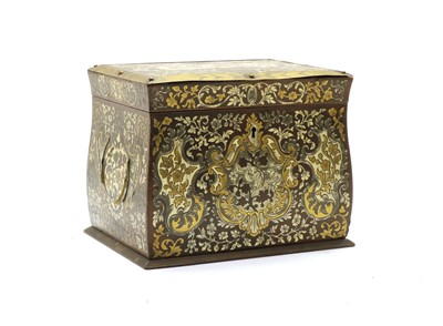 Lot 55 - A Continental cut brass inlaid Tobacco box