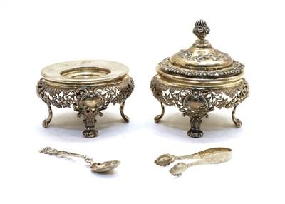 Lot 38 - A pair of Austrian silver preserve jar stands