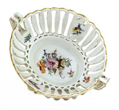 Lot 74 - A Meissen porcelain two-handled fruit basket
