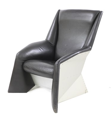 Lot A chrome and leather armchair 'No Step Aft'