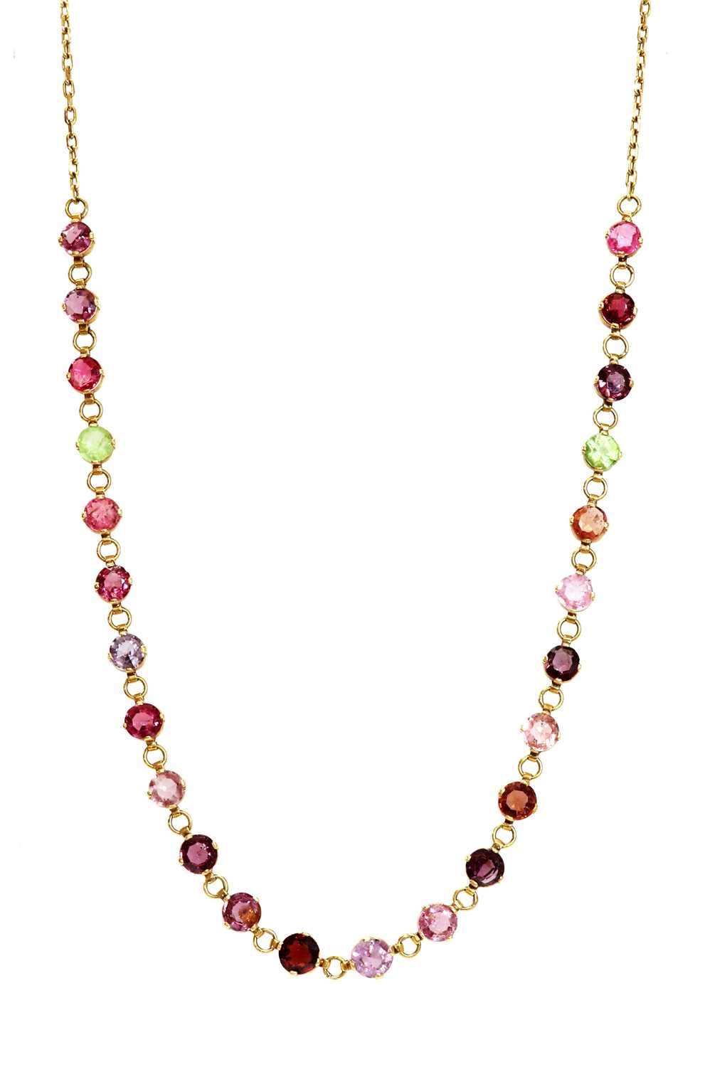 Lot 64 - A gold gemstone necklace, c.1910
