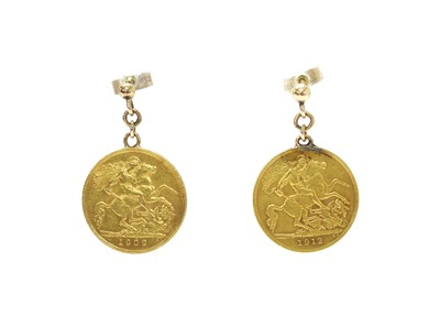 Lot 1093 - A pair of half sovereign earrings