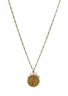 Lot 1092 - An Edward VII half sovereign pendant
