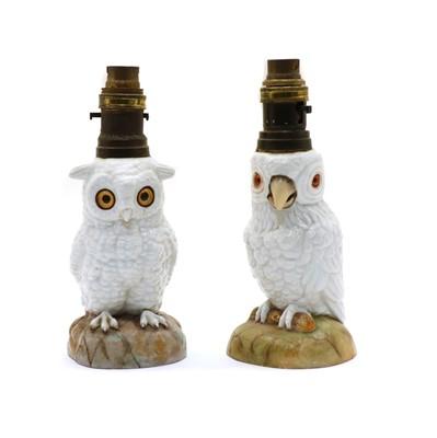 Lot 76 - Two Edwardian owl oil lamps