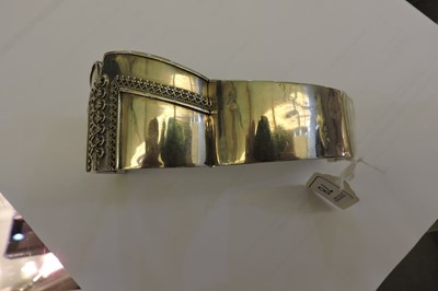 Lot 78 - A Victorian sterling silver hinged bangle of corset form