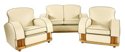 Lot An Art Deco cream leather three-piece suite