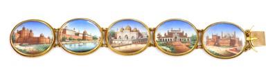 Lot 105 - A 19th century painted miniature gold bracelet