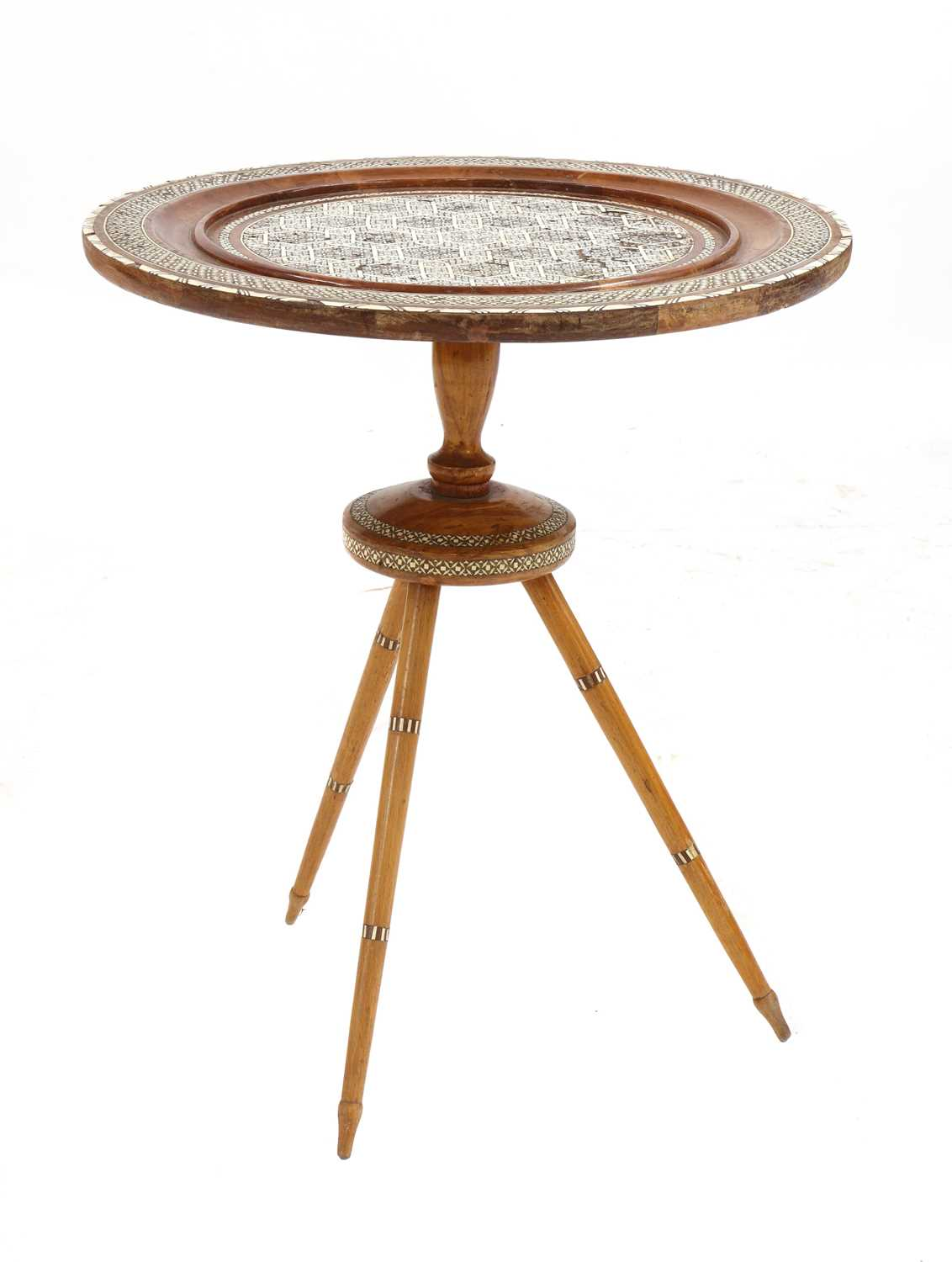 Lot 80 - A Syrian inlaid occasional table