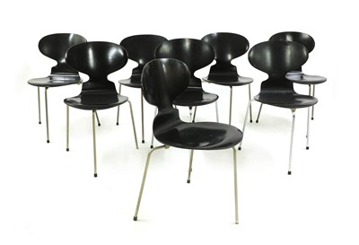 Lot Eight black model 3100 'Ant' chairs