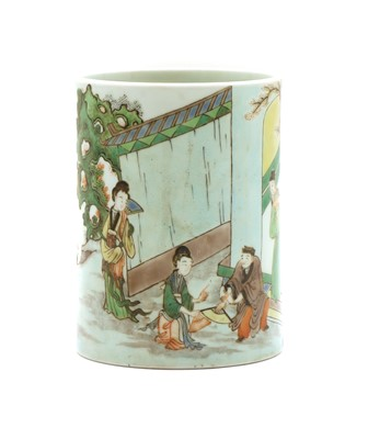 Lot 86 - A Chinese famille verte brush pot