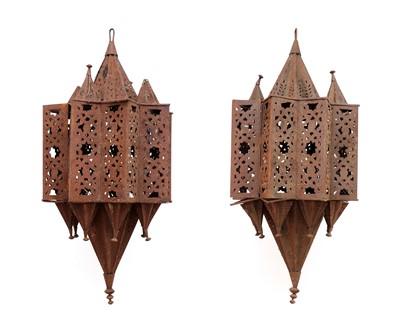 Lot 98 - A large pair of Moroccan iron lanterns