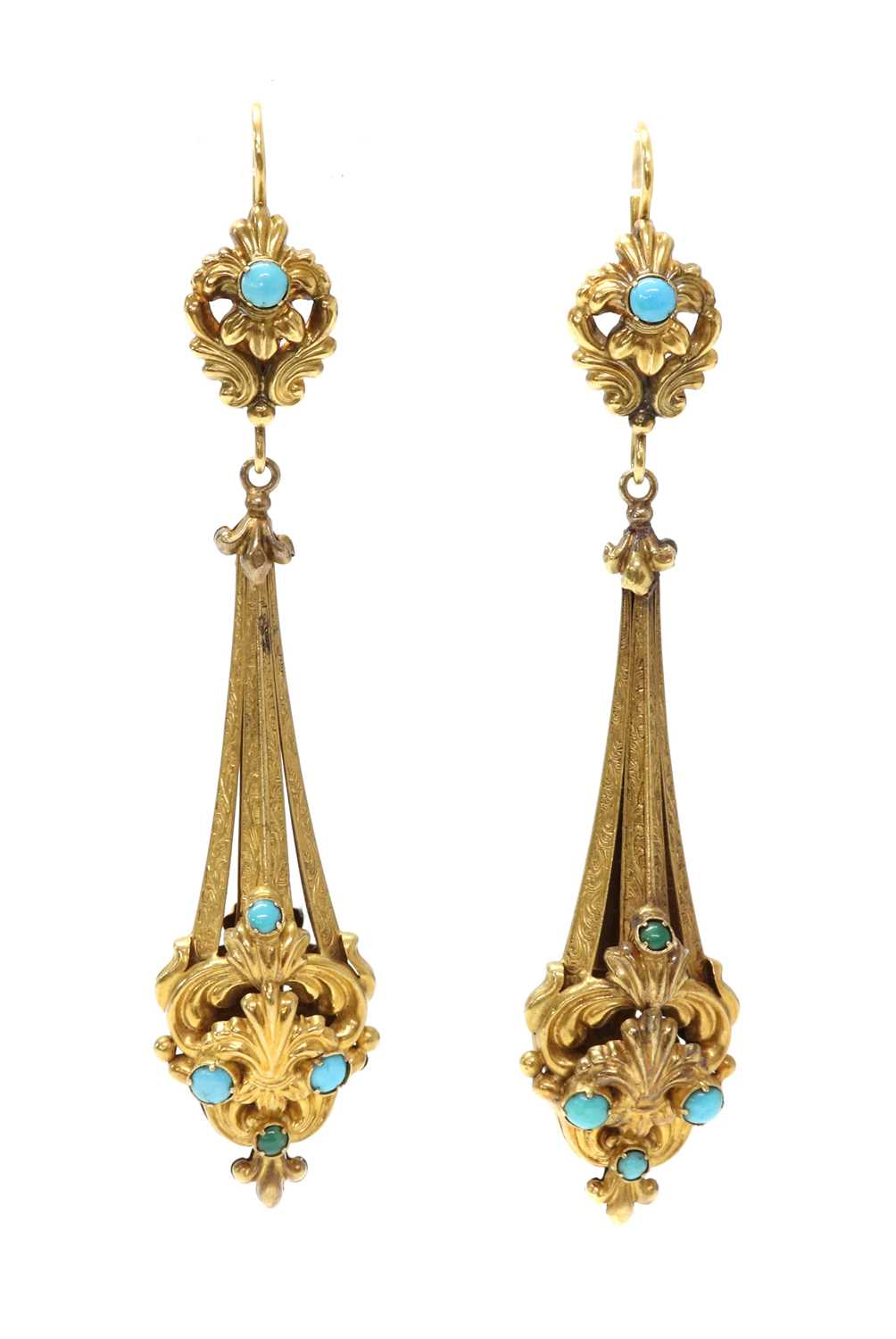 Lot 27 - A pair of Regency gold and turquoise set drop earrings
