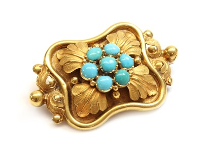 Lot 28 - A Victorian turquoise brooch, c.1840
