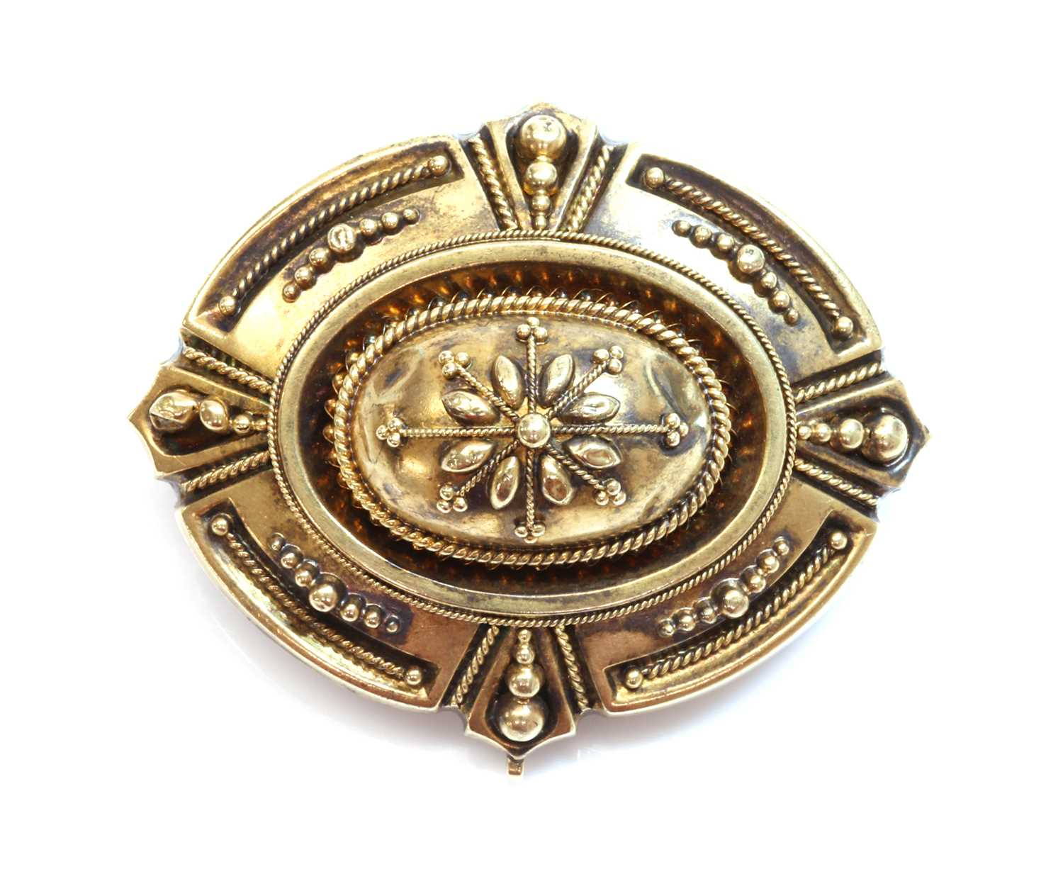 Lot 85 - A Victorian archaeological revival Etruscan style shield form brooch, c.1870