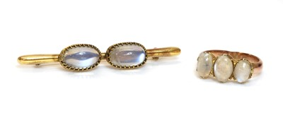Lot 114 - A two stone moonstone bar brooch