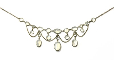 Lot 1050 - An Edwardian moonstone swag necklace