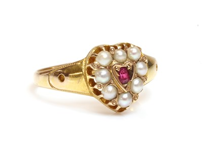 Lot 99 - A 15ct gold Victorian ruby and split pearl heart shaped cluster ring