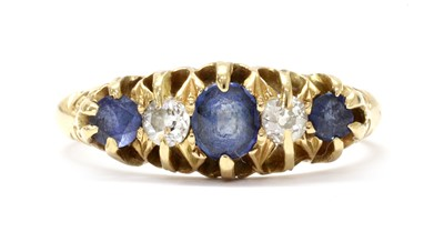 Lot 1028 - An Edwardian 18ct gold sapphire and diamond five stone ring