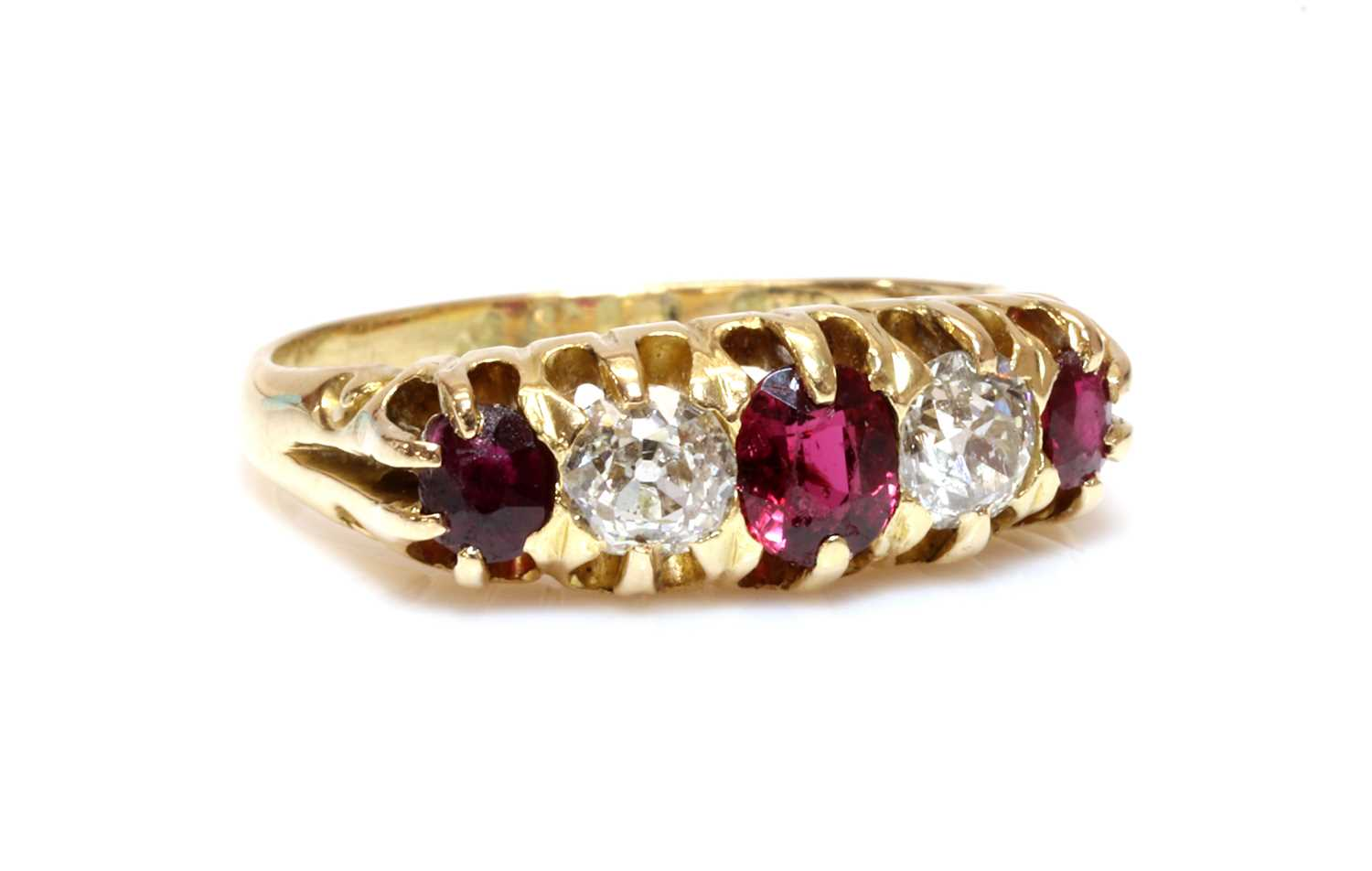 Lot 44 - An 18ct gold red spinel, ruby and diamond boat shaped ring, c.1900