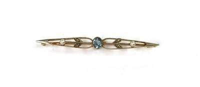Lot 1038 - An Edwardian gold aquamarine, diamond and seed pearl brooch