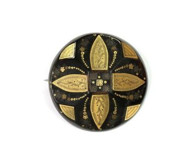 Lot 1021 - A Victorian piqué work tortoiseshell brooch