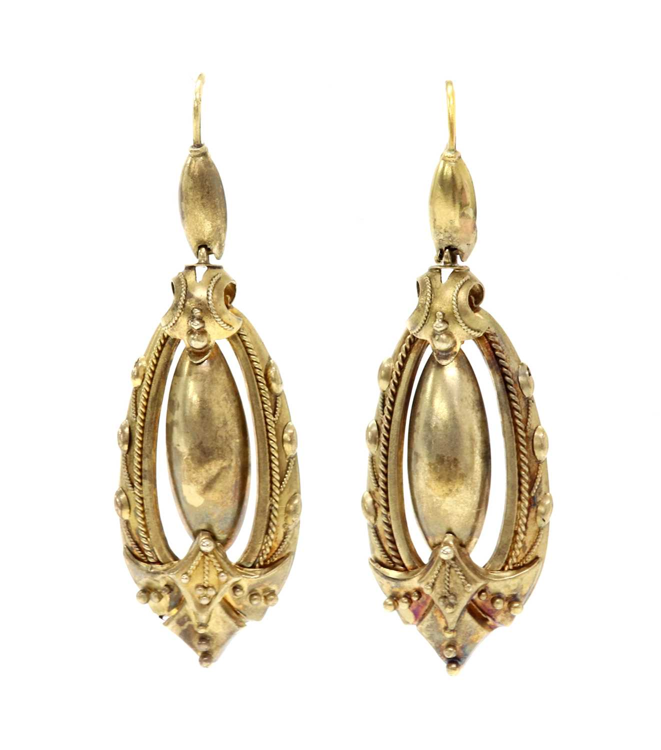 Lot 88 - A pair of Victorian Etruscan style gold drop earrings