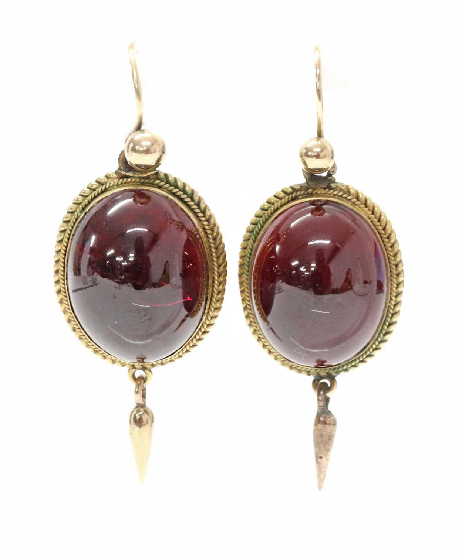 Lot 68 - A pair of Victorian garnet drop earrings
