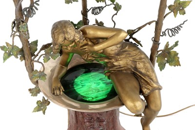 Lot 22 - An unusual Art Nouveau cold-painted spelter table lamp