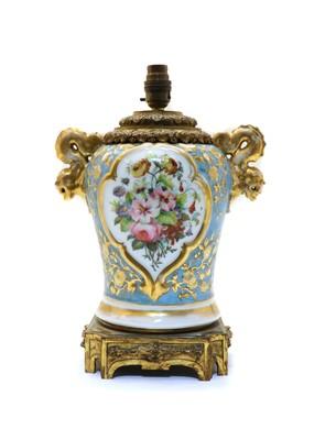 Lot 59A - A Continental porcelain vase lamp