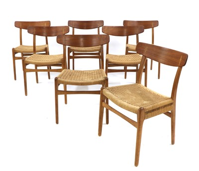 Lot A set of seven 'CH23' dining chairs
