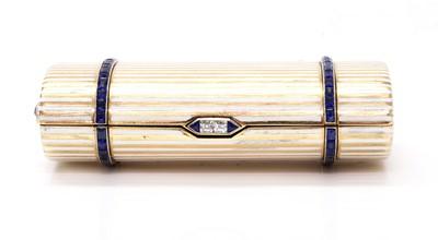 Lot 141 - A gold sapphire, diamond and enamel cigarette case