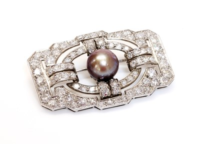 Lot 146 - A French Art Deco natural saltwater pearl diamond plaque brooch, c.1925