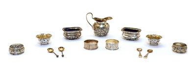 Lot 19 - A pair of silver salts with blue glass liners