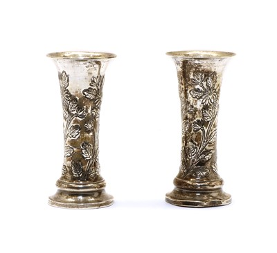 Lot 25 - Pair of Edwardian silver posy vases
