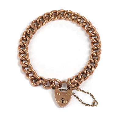 Lot 1106 - A gold hollow curb link bracelet