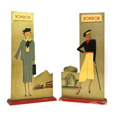Lot A pair of Art Deco wood advertising signs for 'Bondor' stockings