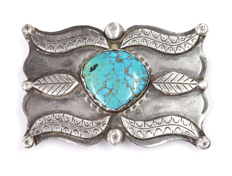 Lot 276 - A silver Navajo turquoise set belt buckle, c.1970