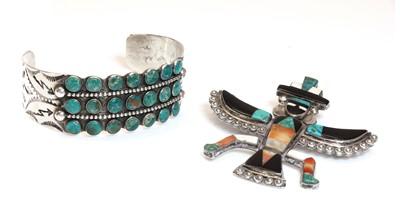 Lot 273 - A native American silver Zuni 'bird man' brooch