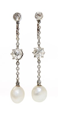 Lot 138 - A pair of Edwardian pearl and diamond drop earrings