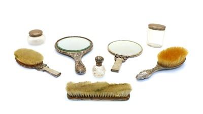 Lot 28 - A Danish silver dressing table set