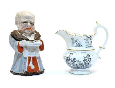 Lot 104 - A 19th century pottery jug inscribed in gilt 'G Marriott'