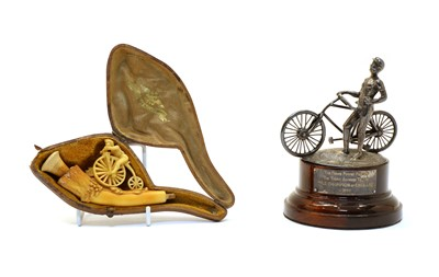 Lot 34 - Cycling interest -  a silver trophy finial and a meerschaum pipe