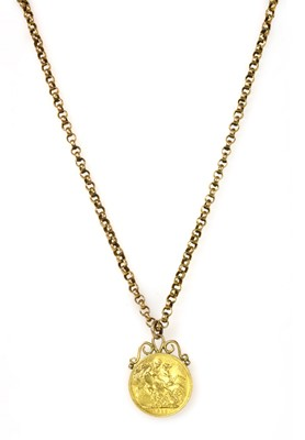 Lot 1088 - A George V sovereign pendant and chain