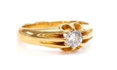 Lot 137 - A gentlemen's 18ct gold single stone diamond ring