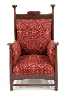 Lot An Arts & Crafts mahogany throne chair